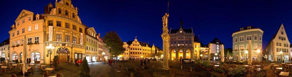 Erfurter Fischmarkt in der Nacht